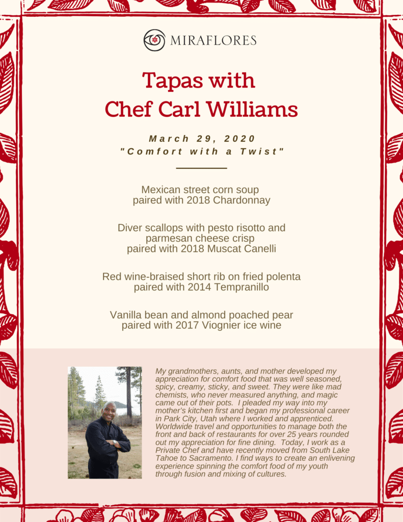 Tapas with Chef Carl Williams - March 29