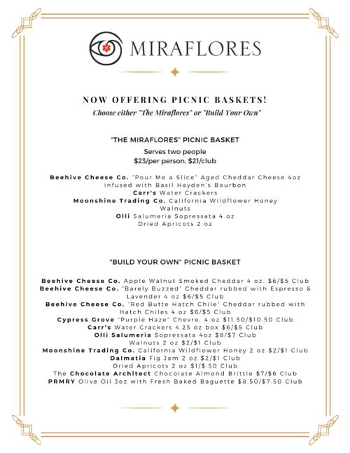 Wine flight tasting menu